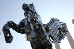 A Pegasus constructed entirely out of Huawei Ascend smartphones sat on the grounds of Mobile World Congress in Barcelona, Spain, just one of the many ways the company made its presence felt.